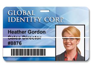 linea blanca en tarjeta de identificación